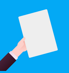 hand of businessman holding white sheet of paper vector image