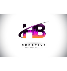 Hb h b grunge letter logo with purple vibrant vector