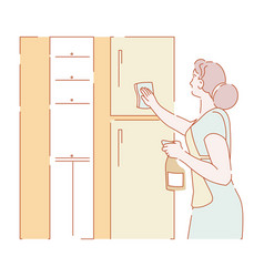 Housewife removing dust cleaning and housework vector