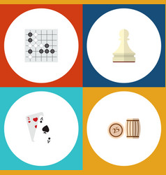 icon flat play set of lotto gambling cards chess vector image