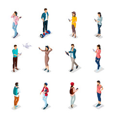 Isometric teenagers young people gadgets vector