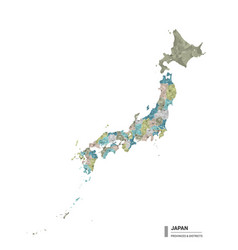 Japan higt detailed map with subdivisions vector