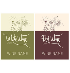 label for red and white wine set vector image
