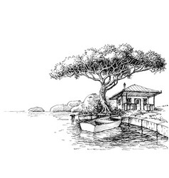Lake or river bank drawing boat and a chalet on vector