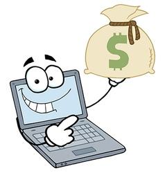 Laptop Cartoon Character Displays Money Bag vector image vector image