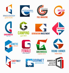 Letter g corporate identity business icons vector