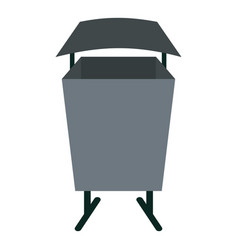 Metal rubbish bin icon isolated vector