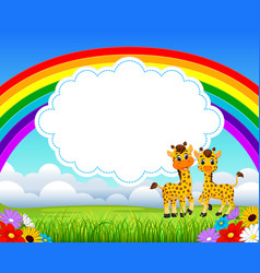 Nature rainbow view with the cloud board blank vector