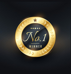 no 1 winner golden label design for your brand vector image