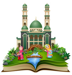Open book with group of happy muslim woman and her vector