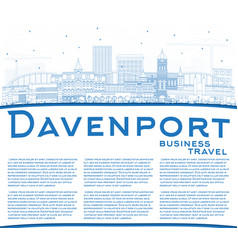 Outline davenport iowa skyline with blue vector