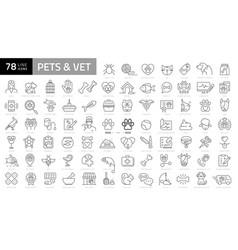 Pet vet pet shop types pets - minimal thin vector