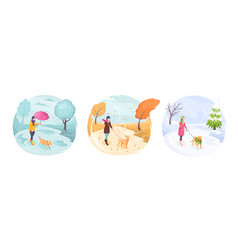 pet walking in bad weather woman girl and dog vector image