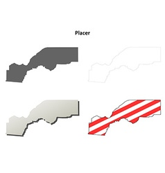 Placer County California outline map set vector