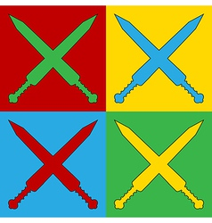 Pop art crossed gladius swords icons vector image