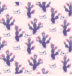 purple seamless pattern with cacti and vector image