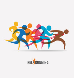 running people set of symbols competition vector image