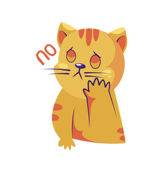sad yellow cat saying no sticker on a white vector image