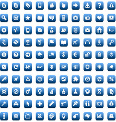 set 100 icons for web and interface vector image