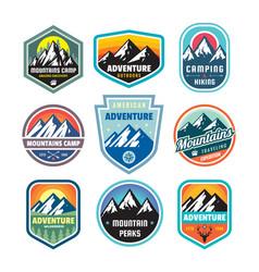 Set adventure outdoor concept badges summer vector