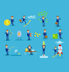 Set businessmen achieving success money concept vector
