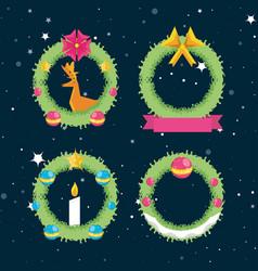 Set crown decoration christmas vector