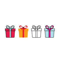 Set gift box with ribbon gift box icon with line vector