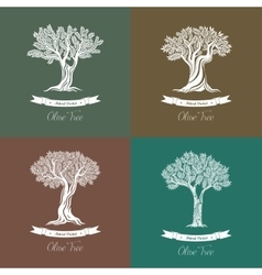 Set of different natural olive oil trees logo vector image