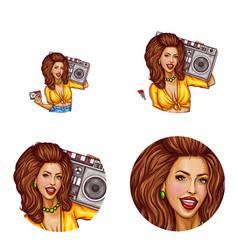 Set of female avatars in pop art style vector