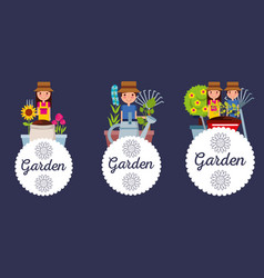 set of garden people flowers tools label vector image