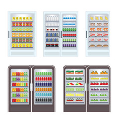 showcase refrigerator for cooling drinks with vector image