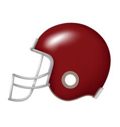side view red football helmet vector image