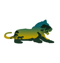 Silhouette of lioness on the hill landscape vector