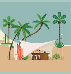 Summer beach bar scene vector