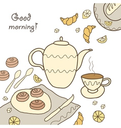 Tea coffee and sweets doodle template patern invit vector