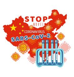 Test tube with coronavirus 2019-ncov banner design vector