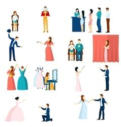 Theater actors flat icons set vector