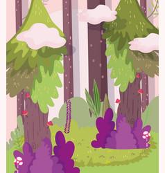 trees bushes mushrooms clouds landscape nature vector image
