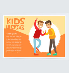 Two boys fighting each other teen kids quarreling vector