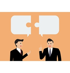 Two businessman in conversation vector image