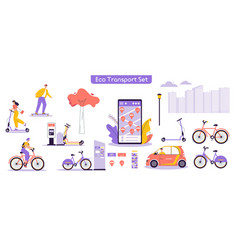 urban eco transport set vector image