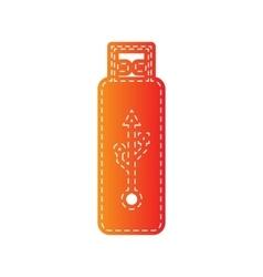 USB flash drive sign Orange applique vector image