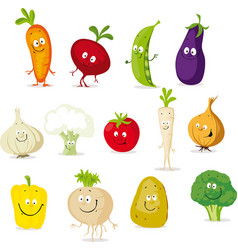 vegetable cartoon collection - cute cute il vector image