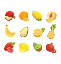 Vegetarian food icons in cartoon style color vector
