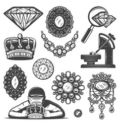 Vintage jewelry repair service elements set vector