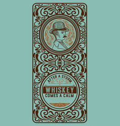 whiskey label with gentleman detail vector image