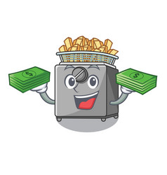 With money cooking french fries in deep fryer vector