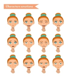 woman emotion face set vector image