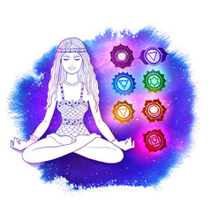 woman in pose of lotus on space background vector image