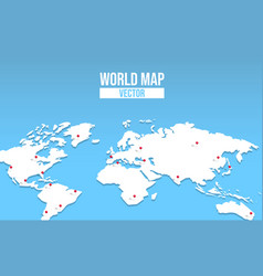 world map empty template with red location pin vector image